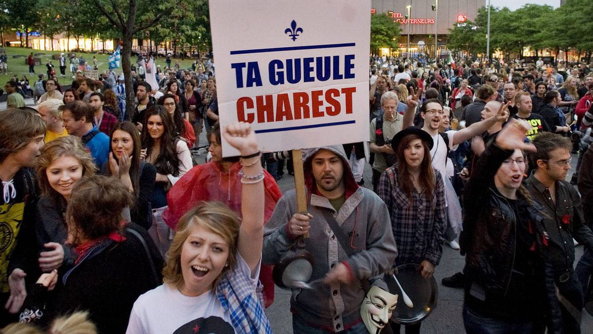 Protesters opposing Quebec tuition fee hikes demonstrate in Montreal, Sunday, May 27, 2012.