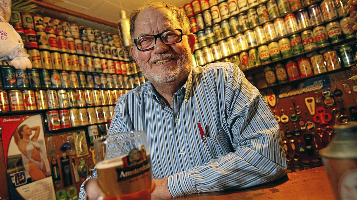 Beer-paraphernalia aficionado Larry Sherk in his friend's basement brewery collectables room in Etobicoke, where a group of collectors meet every Thursday night. Last year, Mr. Sherk donated his array of some 3,000 beer labels to the rare-books library at the University of Toronto.