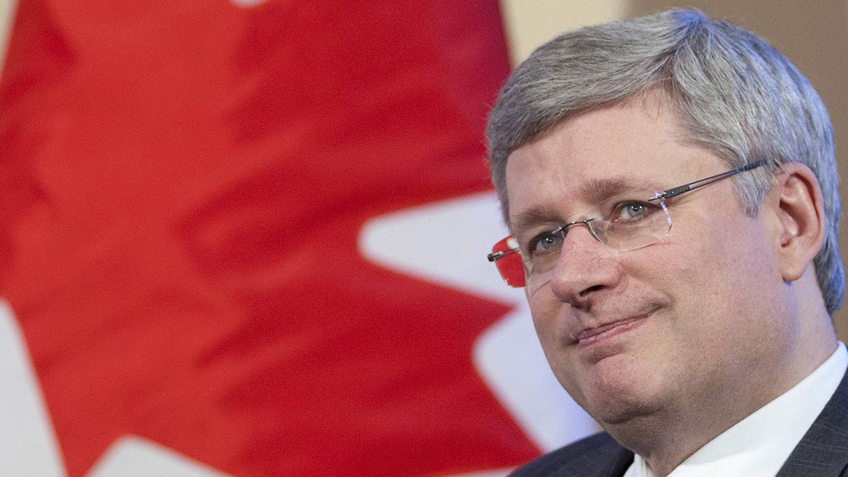 Prime Minister Stephen Harper is seen during a meeting with Catherine Swift, President and CEO of the Canadian Federation of Independent Business, at his office in Ottawa Wednesday January 18, 2012.