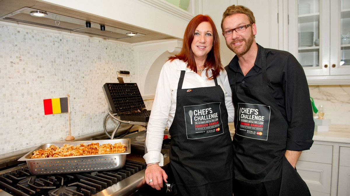 Valerie Bain and Jan Vandenbroeck of The Waffle Bar, serving waffles at the private brunch