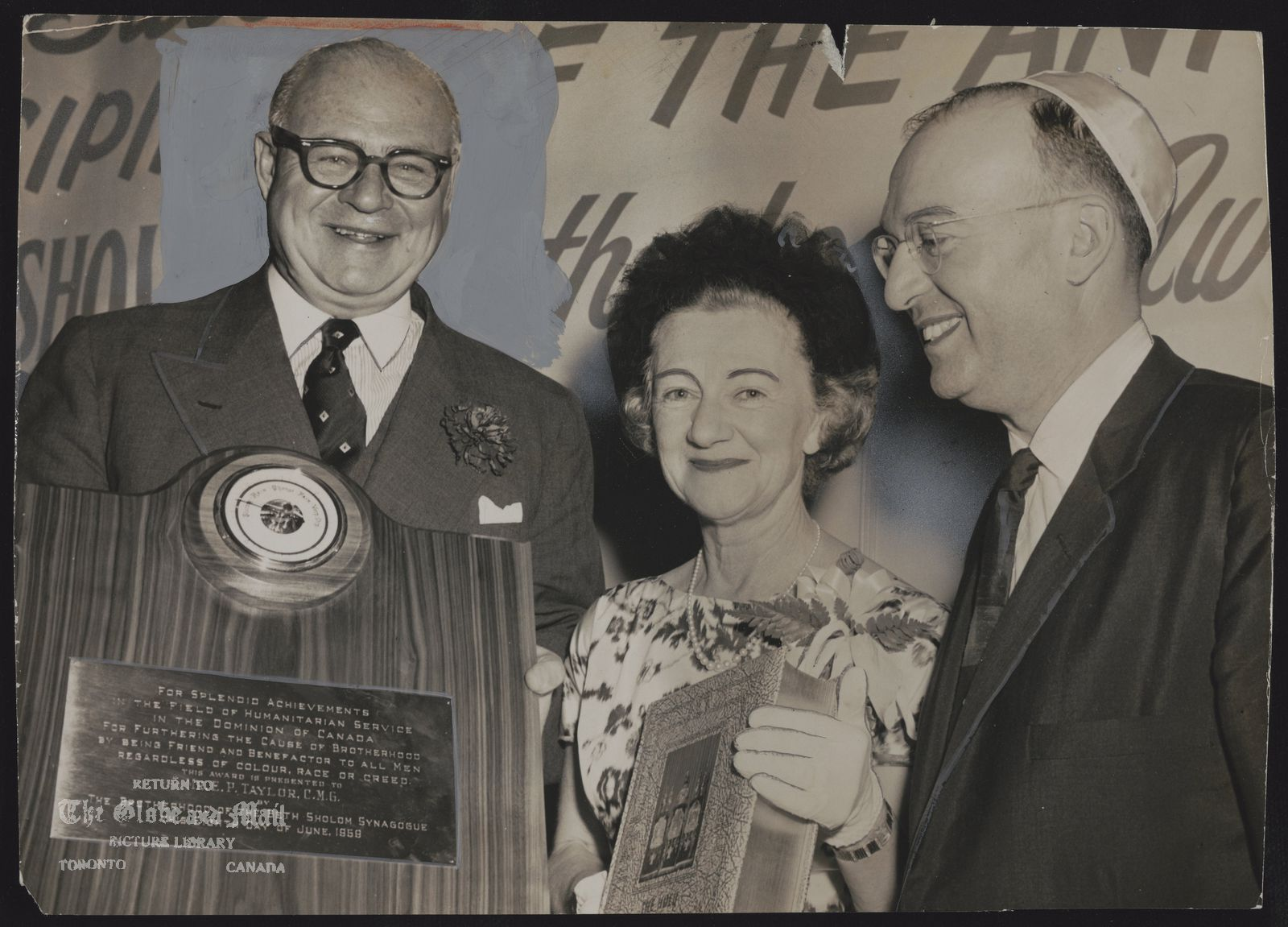 E.P. TAYLOR Toronto. Industrialist. E.P. Taylor, With Mrs. Taylor, Receives Brotherhood Award. Presentation for