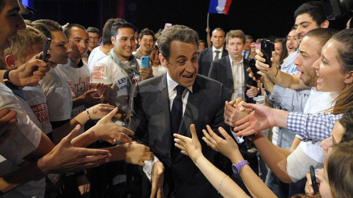 France's President and UMP party candidate for the 2012 French presidential elections Nicolas Sarkozy arrives at a campaign rally in Nice, southern France April 20, 2012. France goes to the polls on Sunday in the first round of its presidential election.