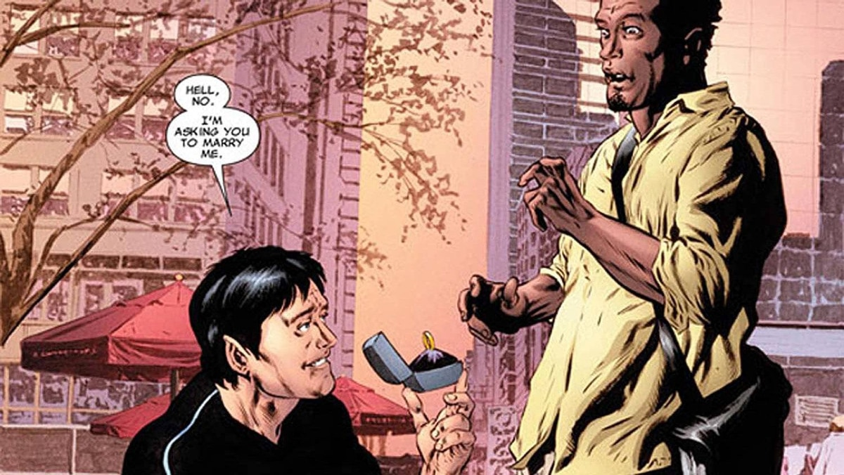 "Jean-Paul Beaubier, aka Northstar, a Canadian with piercing blue eyes and silver-streaked black hair who can move and fly at superhuman speeds, proposes to his longtime boyfriend Kyle Jinadu in the issue ""Astonishing X-Men #50."""