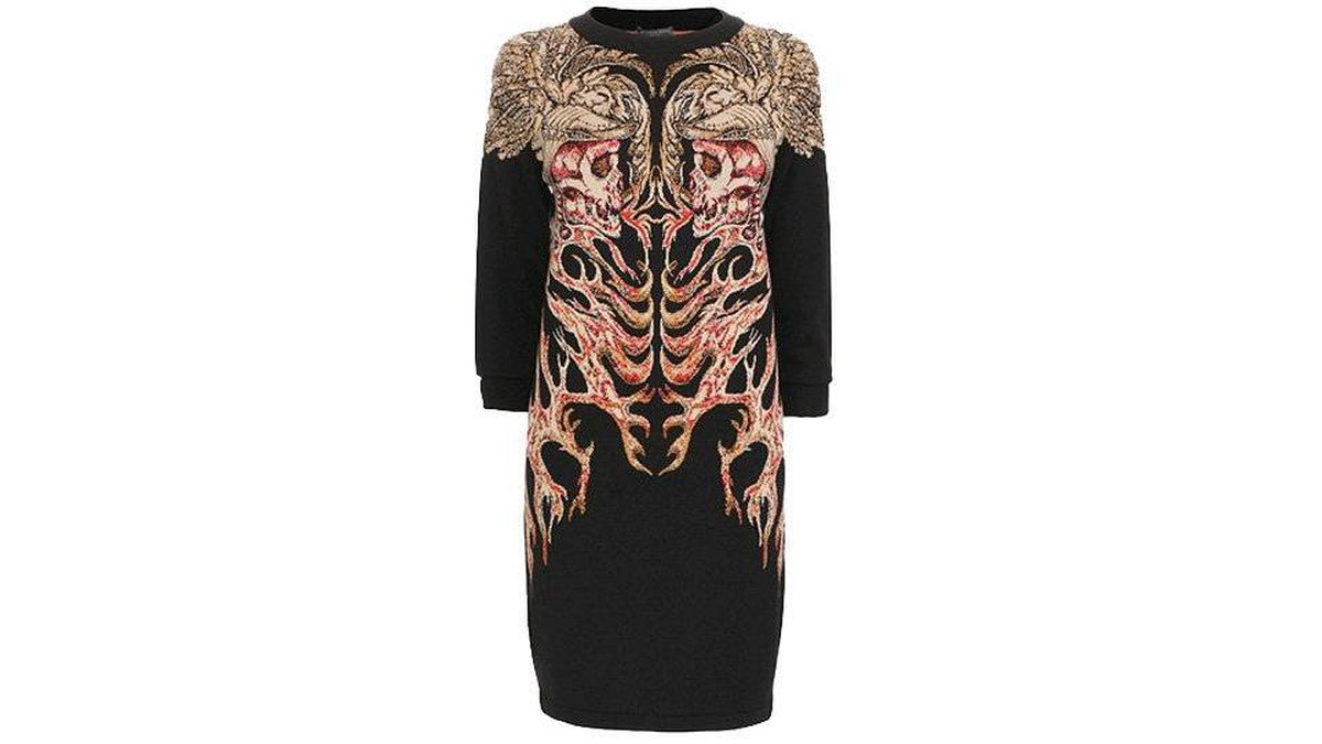 The Hells Angels Jacquard Box Dress by Alexander McQueen, listed for $1,595.00 (U.S.) on AlexanderMcQueen.com.