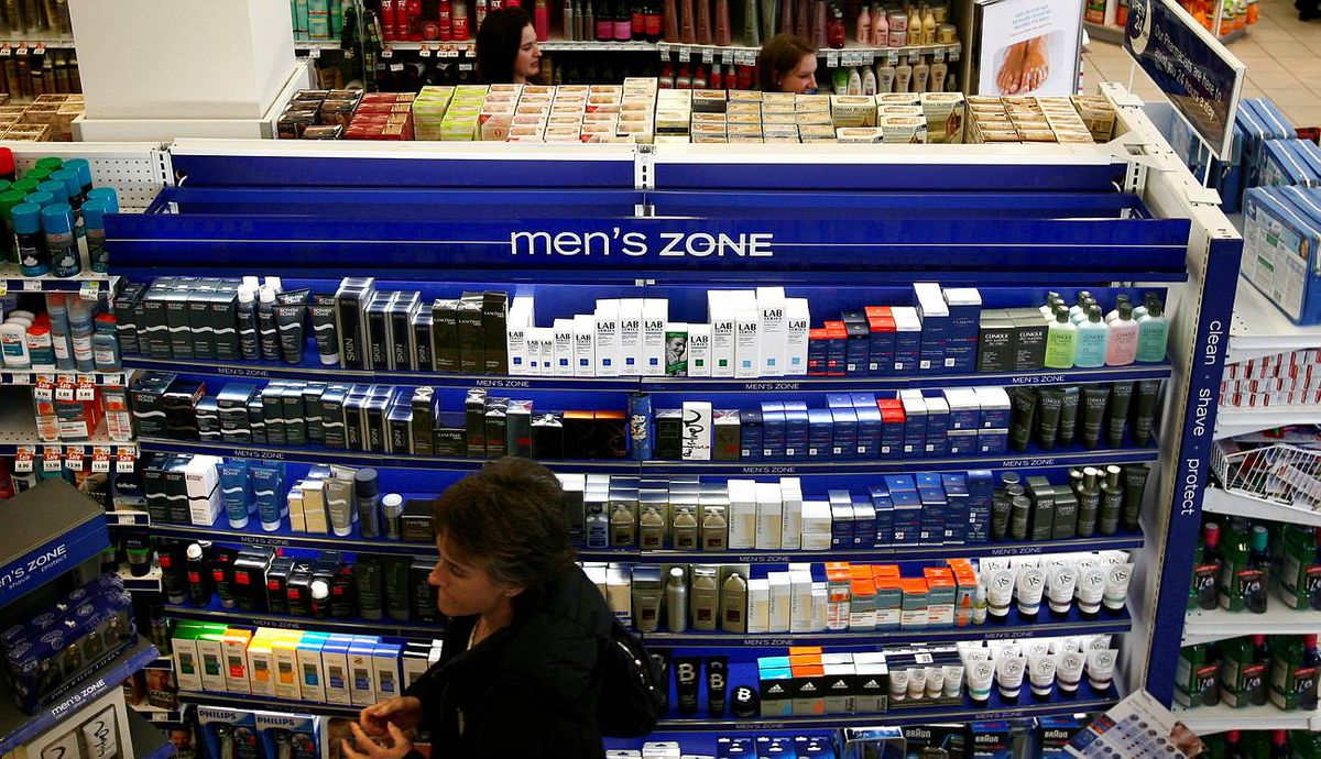 The new Men's Zone isle at a Shoppers Drug Mart in Toronto.