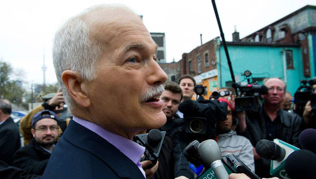 New Democratic Party leader Jack Layton speaks to media after voting in Toronto, Ont., on Monday, May 2, 2011.
