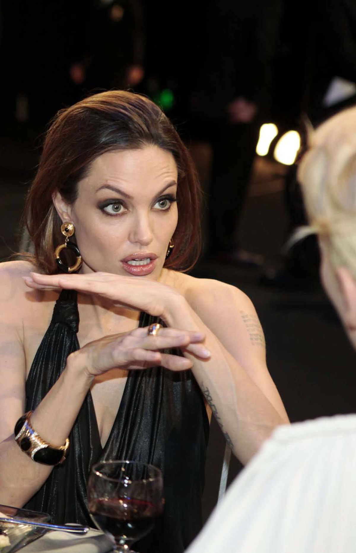 And here we see Angelina Jolie casting an evil curse on Tilda Swinton.