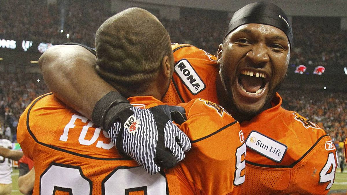 B.C. Lions fullback Rolly Lumbala had one reception for six yards in the team's Grey Cup win.