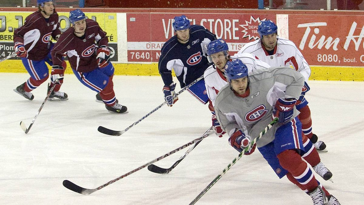 In this file photo: Montreal Canadiens players skate during the team practice in Montreal, Wednesday April 23, 2008. The Canadiens face the Philadephia Flyers in the second round of the NHL hockey playoffs which start tomorrow.THE CANADIAN PRESS/Ryan Remiorz