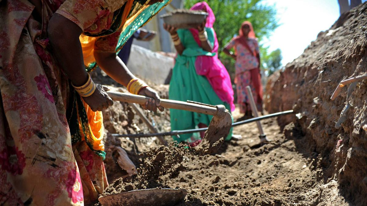Women work on an NREGA project digging a sewer in rural Rajasthan.