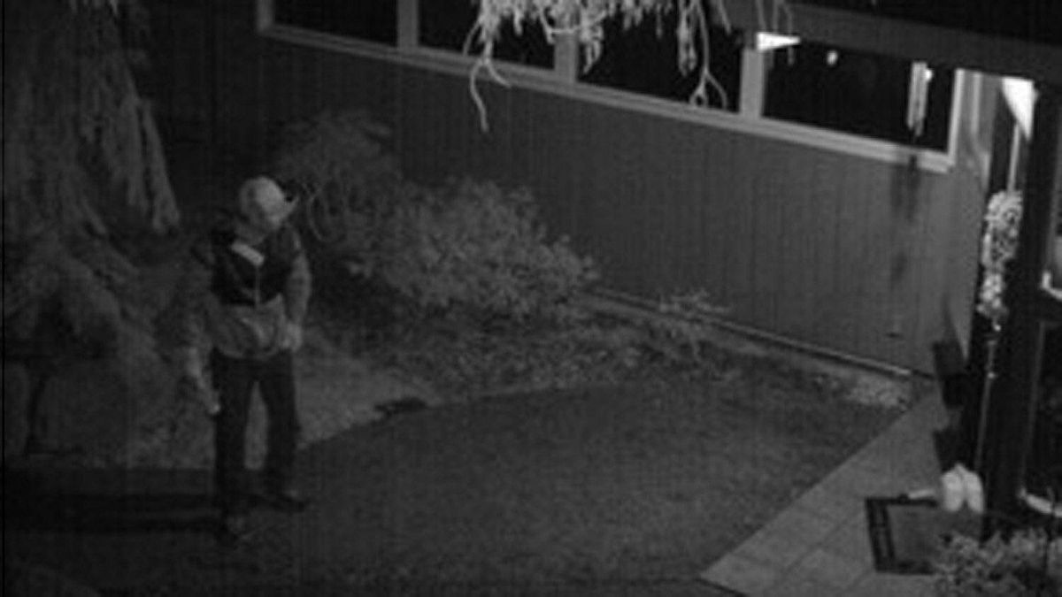Video still released by the RCMP of a Lower Mainland arsonist who targeted police recruits