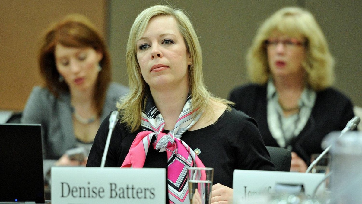 Denise Batters, whose husband Regina MP Dave Batters killed himself in 2009, appears before a Commons health committee on March 8, 2012.