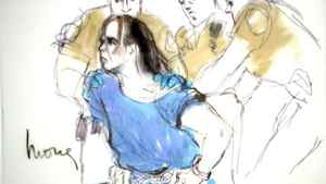 Arson suspect Harry Burkhart is shown in a courtroom sketch being held by Los Angeles Sheriff deputies during his hearing in Los Angeles on Jan. 4, 2012.