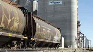 In this August 30, 2007 file photo, a Viterra grain elevator is shown near Regina, Sask. Grain handler Viterra Inc. is cheering the end of the Canadian Wheat Board's monopoly.The company, with corporate offices in Calgary and Regina, says it can start taking bids right away to market wheat, durum and barley on behalf of Canadian growers for delivery August 1, 2012. THE CANADIAN PRESS/Troy Fleece