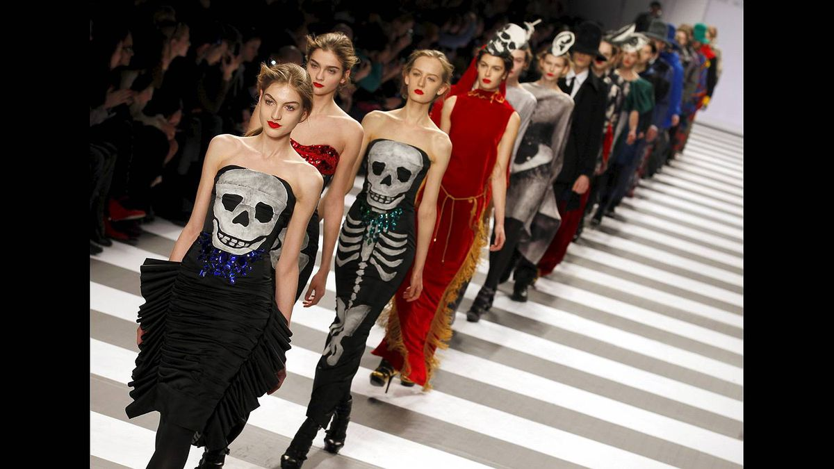 Models show creations from French designer Jean Charles De Castelbajac's Fall-Winter ready-to-wear 2012 fashion collection, presented in Paris, Tuesday, March 8, 2011.