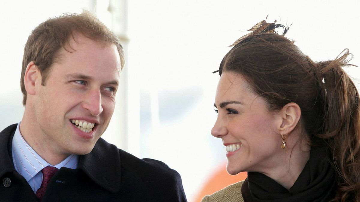 Kate Middleton and Prince William smile as they visit Trearddur Bay Lifeboat Station at Anglesey on February 24, 2011 in Trearddur, Wales.
