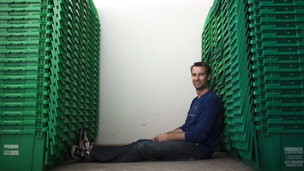 Doug Burgoyne, president and founder of Frogbox, poses at his warehouse in Vancouver, Friday, June 3, 2011.