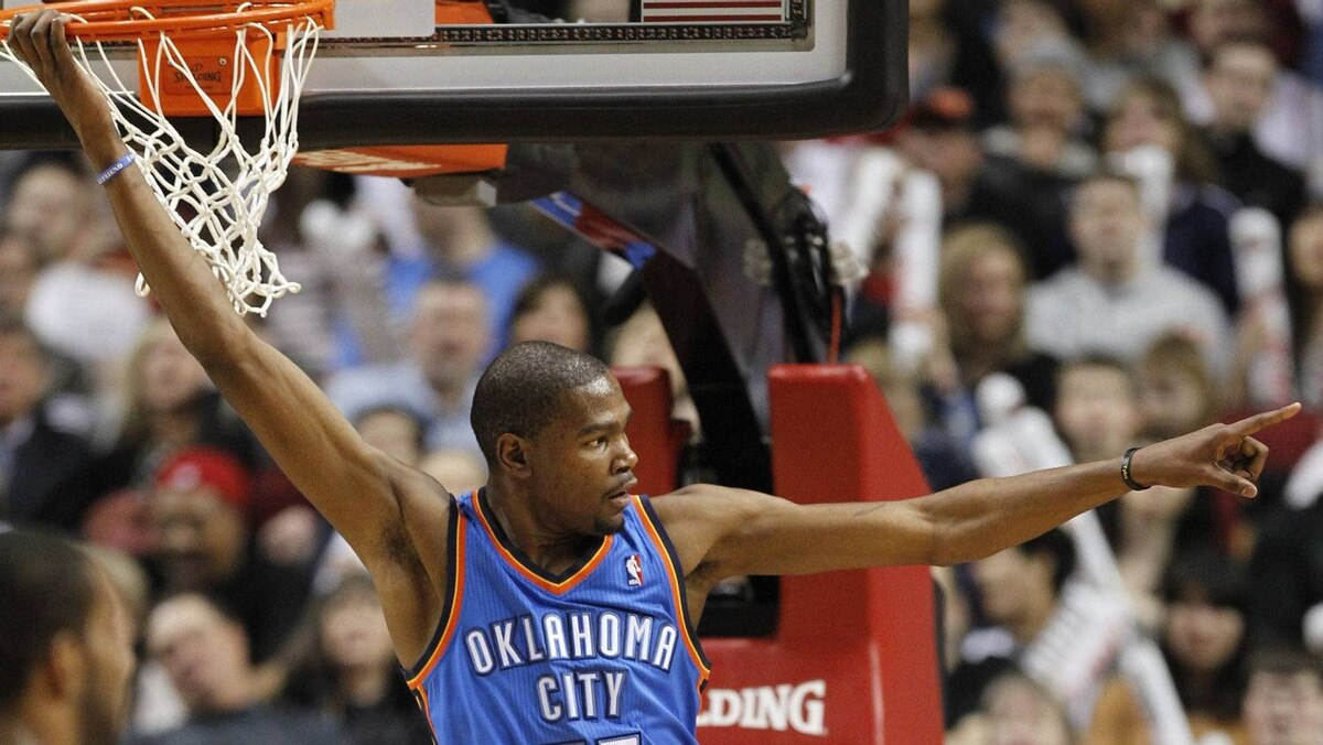 Oklahoma City Thunder forward Kevin Durant points to crowd after a dunk in Portland, Oregon, March 27, 2012. It's hard to single out any single player from the star-studded U.S. basketball team. Kobe, LeBron and D-Wade are back from the group that won the 2008 gold medal. So this will be the chance for Oklahoma City Thunder forward Durant to show his Olympic credentials. KD led the U.S. to gold at the 2010 world championship, but the Olympic title is what really matters. Durant, a two-time NBA scoring leader, is averaging nearly 28 points per game this season and should be a key in the lineup for London.
