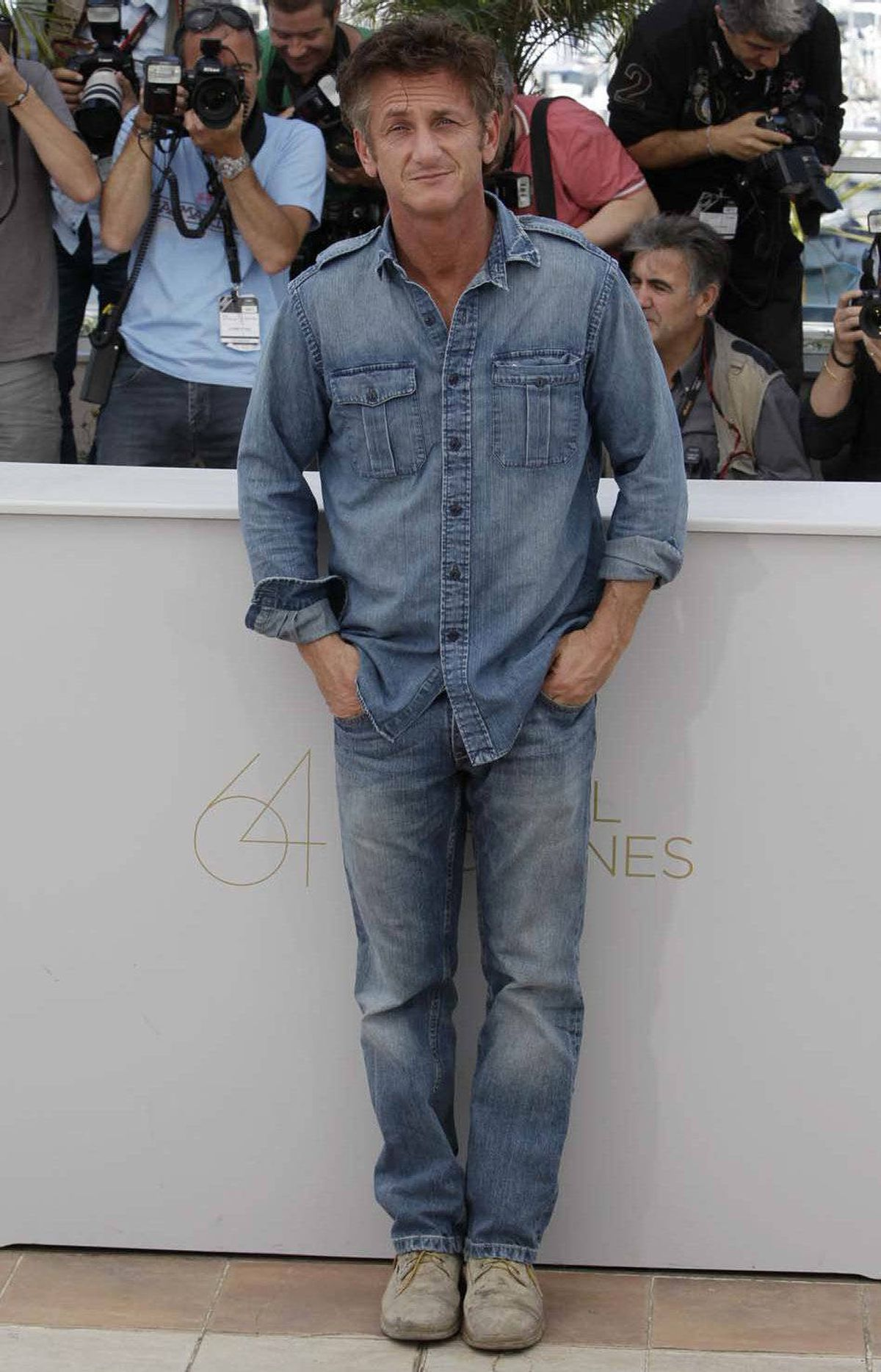 "Sean Penn at the photo call for ""This Must Be The Place"" at the Cannes Film Festival on Friday."