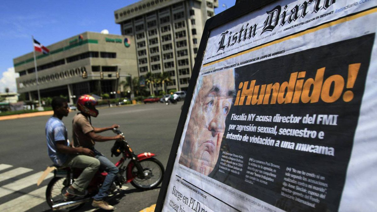 """The cover of a Dominican newspaper carrying the headline """"Sank,"""" in relation to IMF chief Dominique Strauss-Kahn for allegedly trying to rape a hotel maid in New York, is dispalyed on a corner in Santo Domingo, on May 16, 2011."""