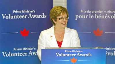 The Honourable Diane Finley, Minister of Human Resources and Skills Development, announced the first call for nominations for the Prime Minister's Volunteer Awards in Kitchener, Ontario. Tuesday, July 12, 2011.