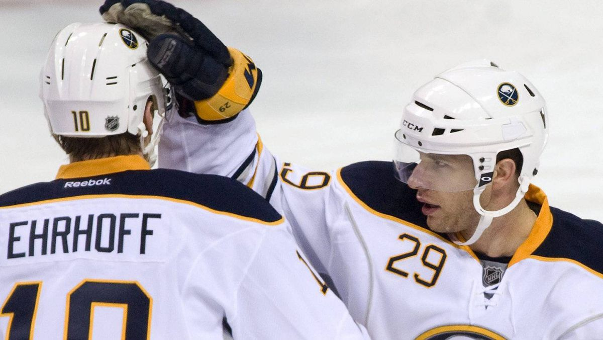 The Buffalo Sabres are one of few NHL teams to take statistics seriously. In recent action Buffalo Sabres' Christian Ehrhoff (10) is congratulated by teammate Jason Pominville (29) after scoring against the Montreal Canadiens during third period pre-season NHL hockey action in Montreal, Wednesday, Sept., 21, 2011. THE CANADIAN PRESS/Graham Hughes