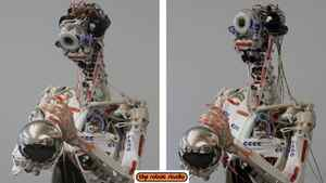 "The ECCEROBOT has a distinctly (almost disturbingly) organic look, which is deliberate. The builder drew inspiration from Gray's Anatomy, yoga manuals, bodybuilding books and dissection DVDs. The resulting structural verisimilitude produces surprisingly fluid motion, a kind of movement ""so notably missing from classical robots."""