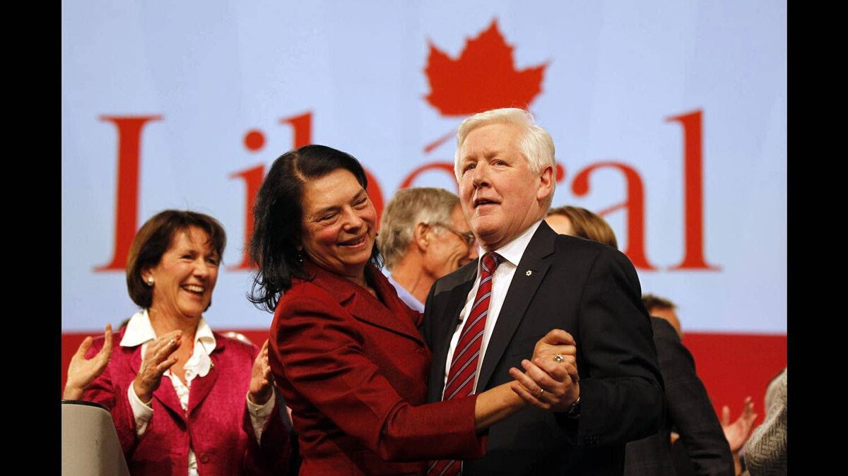 Bob Rae, dances with his wife , Arlene Perly Rae, at the end of the Liberal Convention in Ottawa on Jan. 15, 2012.