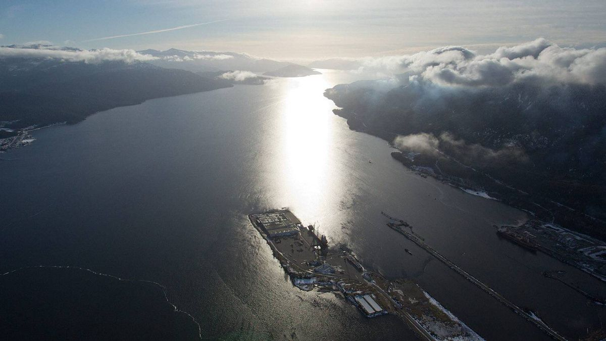 Douglas Channel, the proposed shipping route for crude oil supertankers in Enbridge's Northern Gateway project, is seen in this aerial view just south of Kitimat, B.C., Jan. 10, 2012. The proposed pipeline would ship Alberta oil sands crude 1,200 kilometres across Alberta and British Columbia to the northwest coast community of Kitimat, where the oil will be shipped overseas by oil tankers.
