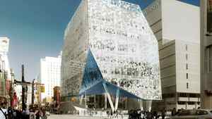 Artist's rendering of the plaza entrance to the Ryerson University Student Learning Centre.