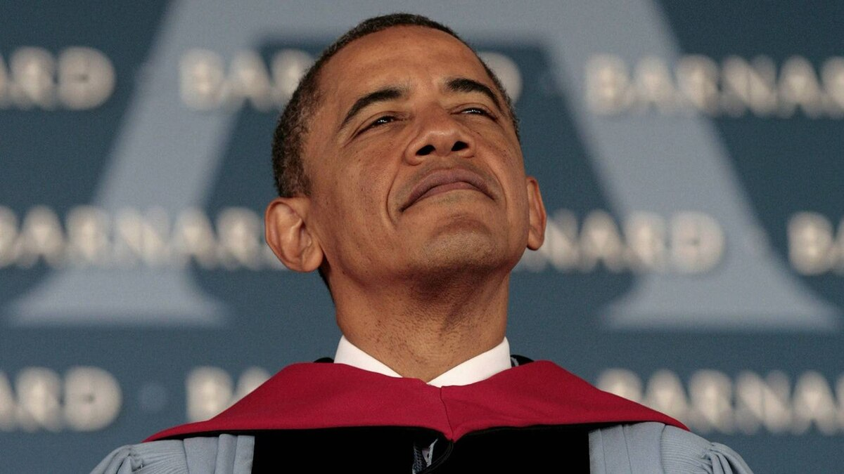 U.S. President Barack Obama pauses before he delivers the commencement address for the 2012 graduating class at Barnard College in New York May 14, 2012.