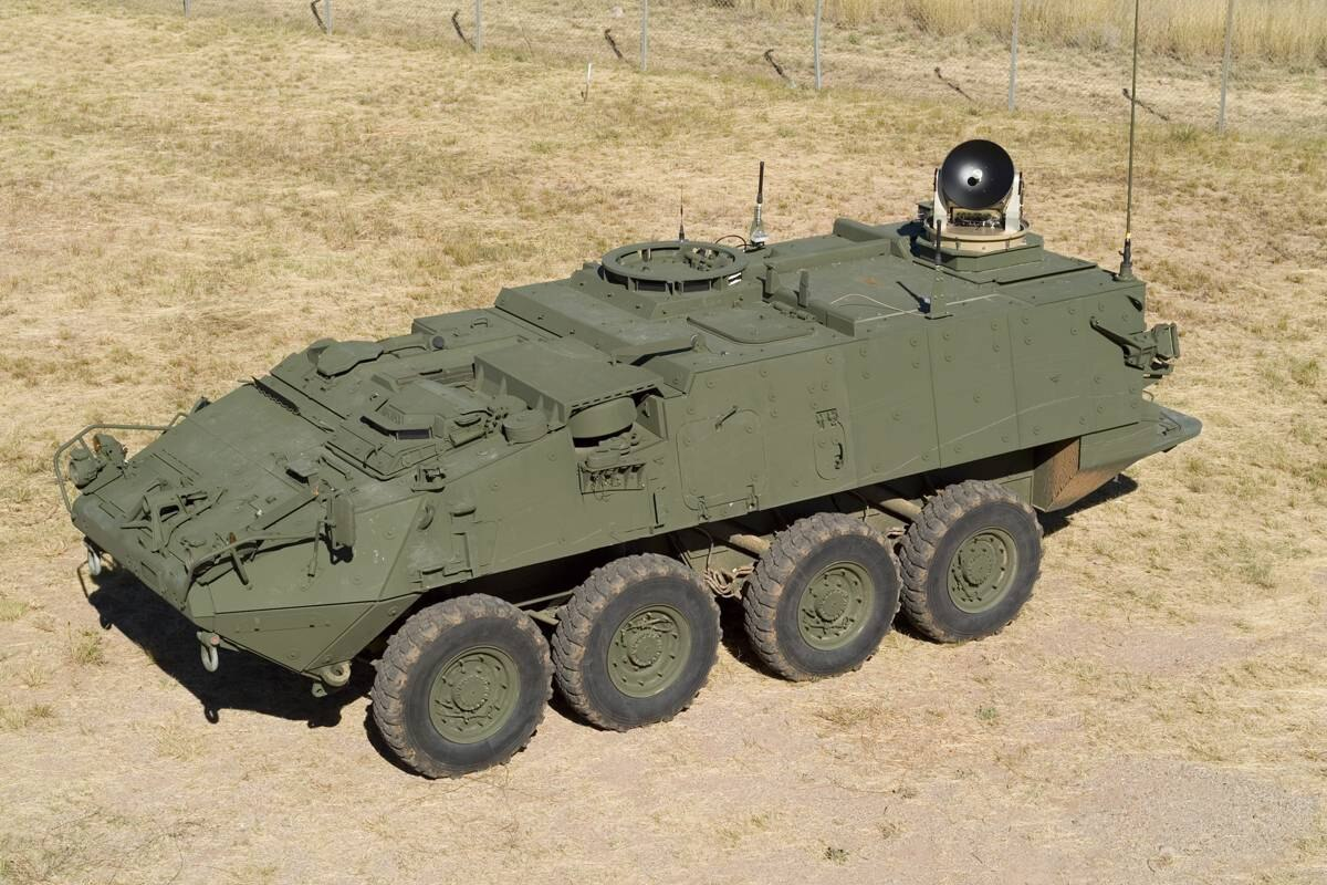 This image shows a SATCOM on-the-move (SOTM), mounted on a Stryker armoured combat vehicle, part of the Land Warrior system manufactured by General Dynamics.