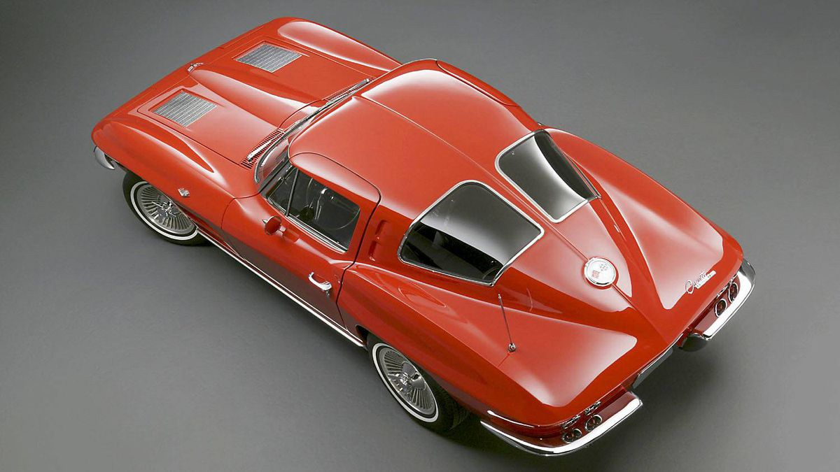 1963 Corvette Sting Ray: One of the most desirable collector cars because of the split rear window, which was only offered in 1963. The Sting Ray continues to influence Corvette design.