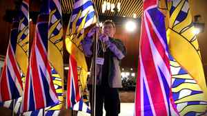 Last minute details as the stage is at a the B.C. Liberal Convention in Vancouver Feb. 26, 2011.
