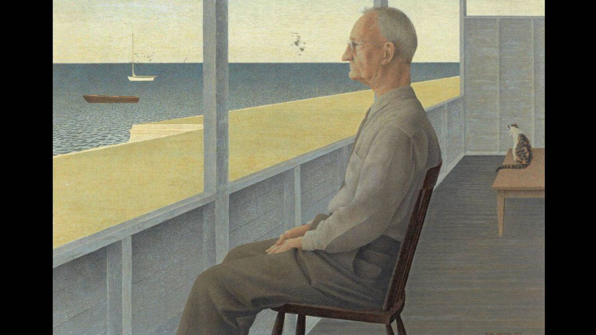Detail from Man on Verandah, painted in 1953 by Alex Colville