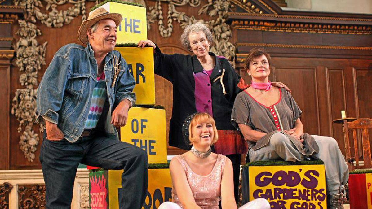 Author Margaret Atwood (back row, centre) with the cast for a literary performance of her book The Year of the Flood.