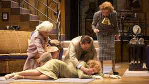 """Jennifer Phipps as Lady Saltburn, Julia Course as Daphne Stillington, Steven Sutcliffe as Garry Essendine, and Mary Haney as Monica Reed in """"Present Laughter"""""""