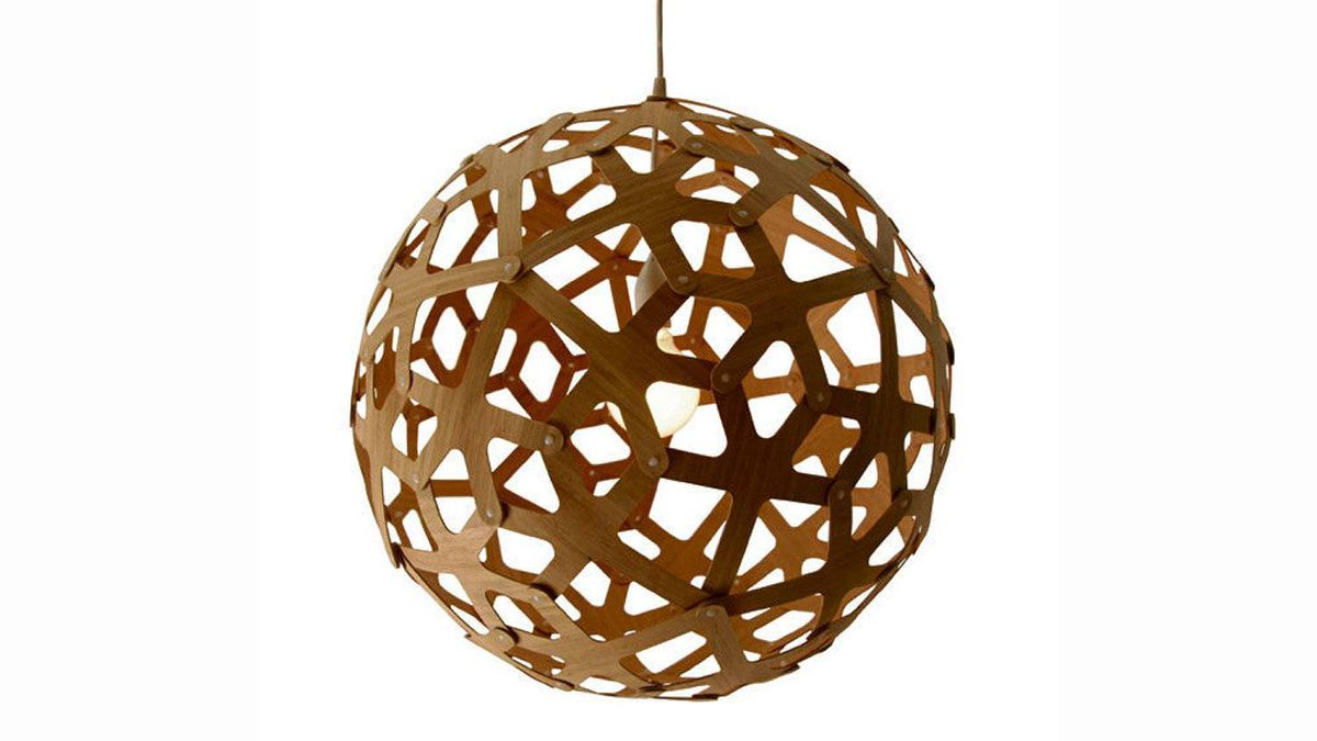 Designed by Architect David Trubridge, the Coral Pendant is inspired by the repeating patterns of coral formations and made from sustainably grown Moso plywood. $500 at Design Within Reach (www.dwr.com).