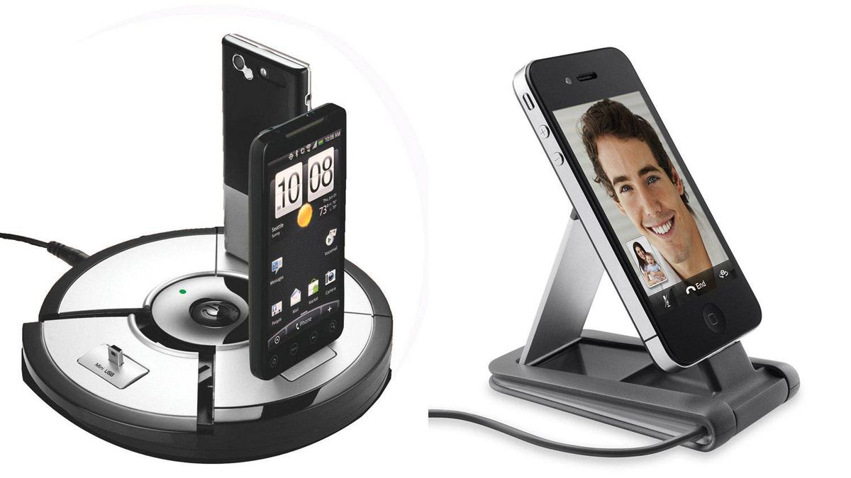 "Fuse PowerSlice is circular charging station divided into three pie-shaped ""slices"" containing charging plugs for different types of phones. The Belkin Mini Dock Portable Stand (right) should prove useful for those who've embraced Apple's FaceTime app."