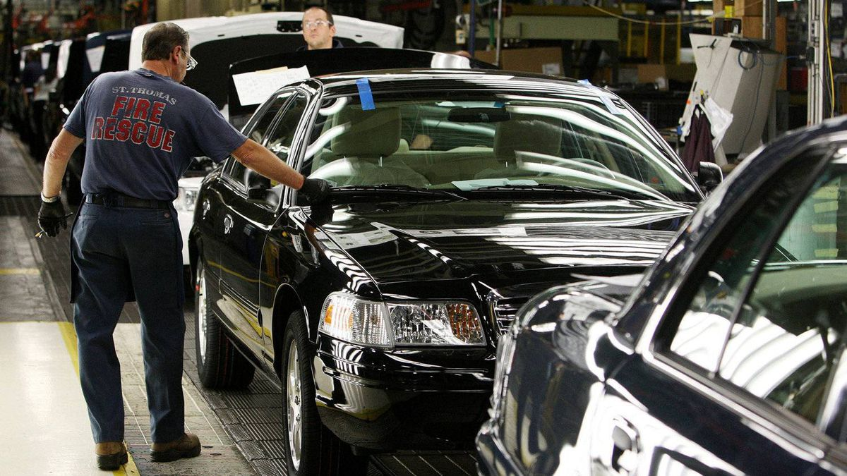 Employees at the plant working on Crown Victoria models on Sept. 8, 2011.