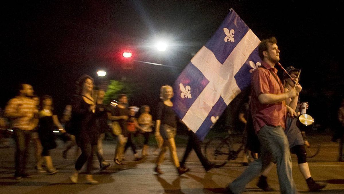 Protesters opposing Quebec student tuition fee hikes demonstrate in Montreal, Thursday, May 24, 2012.