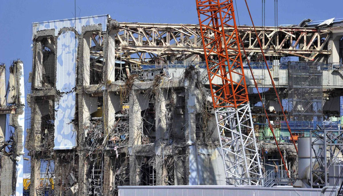 The crippled Tokyo Electric Power Co. Fukushima Daiichi nuclear power plant No. 4 reactor building is seen in Fukushima prefecture February 28, 2012.