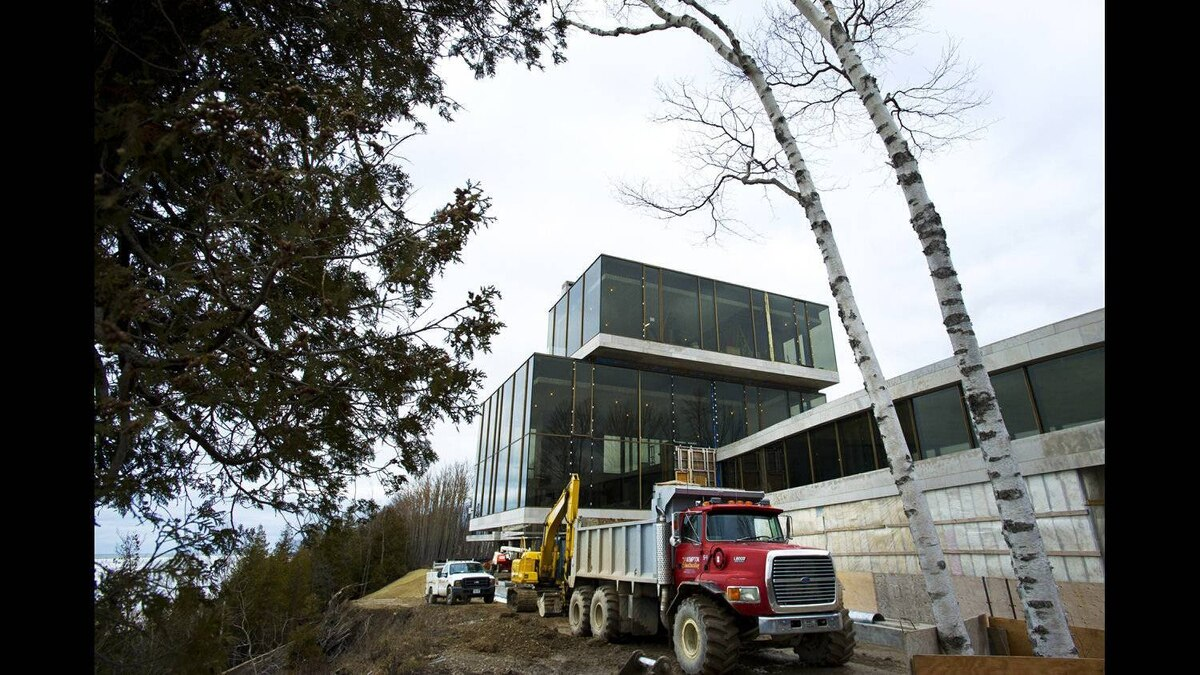 Work continues on former RIM co-CEO Mike Lazaridis' property located near Amberley, ON. Feb. 1, 2012. Nestled on the shores of Lake Huron, the 26,000 square foot building which is located on approximately 100 acres and is still under construction.