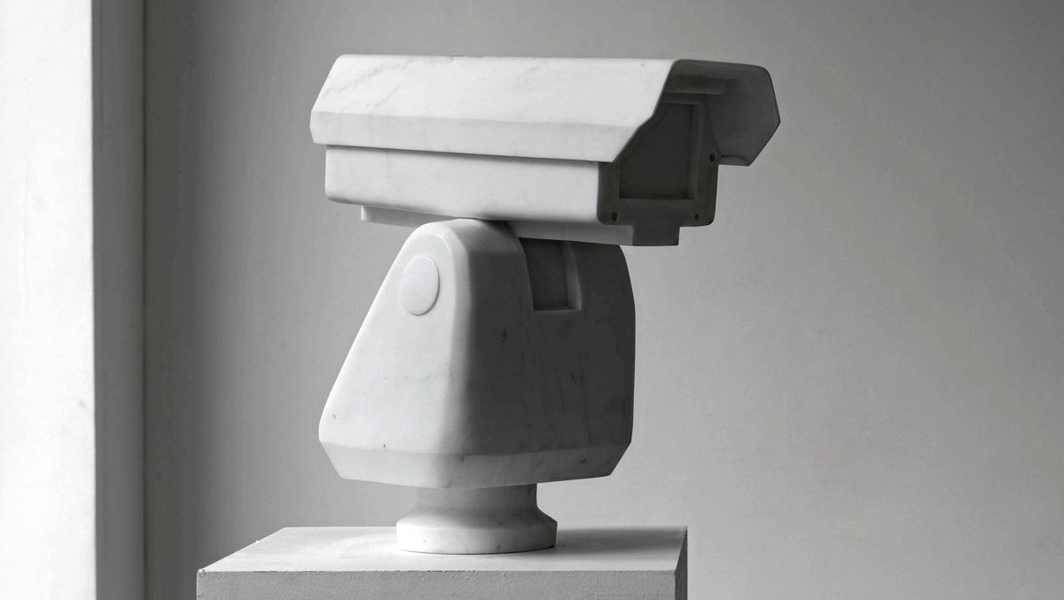 "Chinese artist Ai Weiwei's marble sculpture ""Surveillance Camera"", displayed at Lisson Gallery in London."