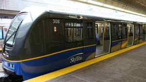 A SkyTrain car in Vancouver on May 6th, 2009.