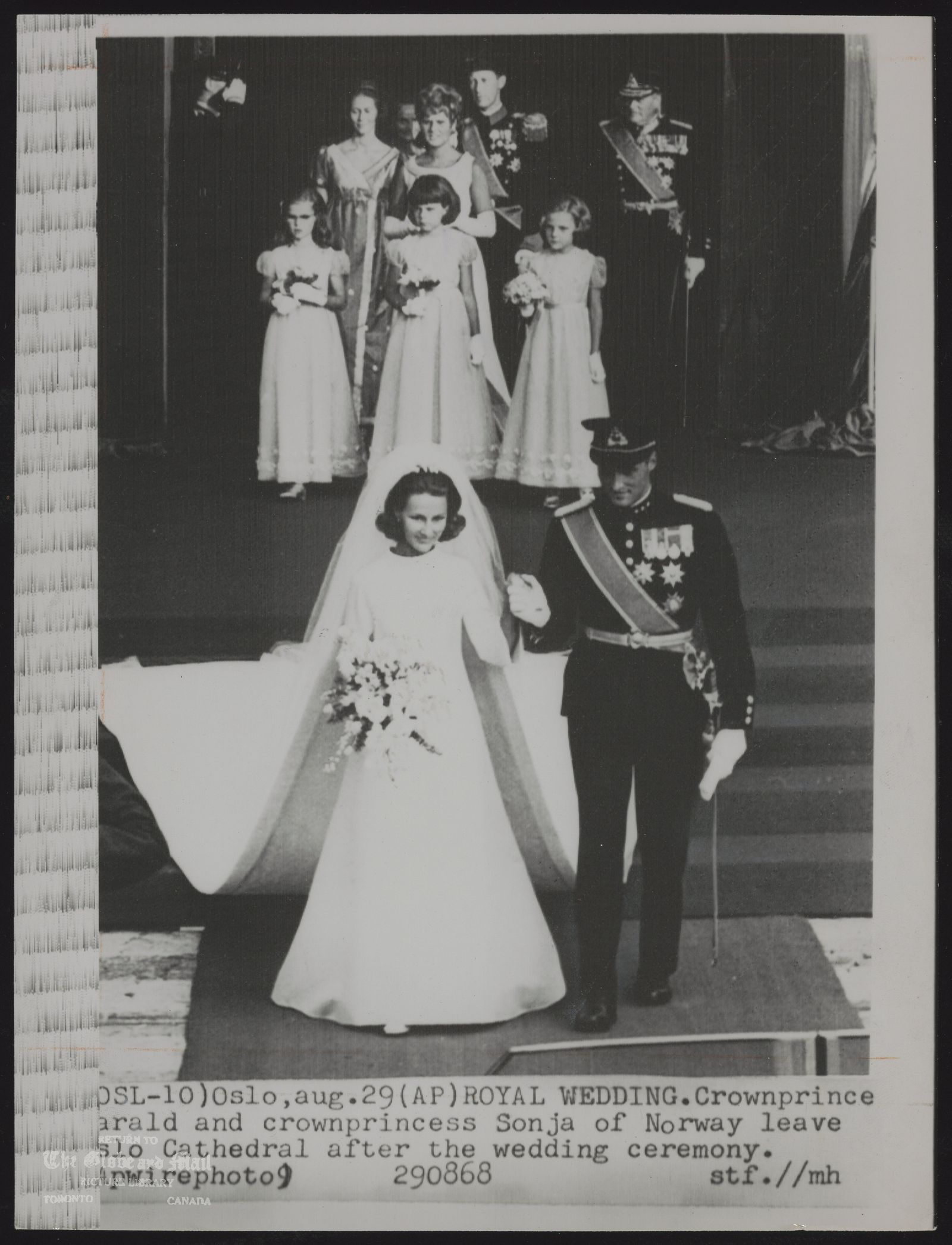 ROYAL FAMILY Norway Prince Harald (OSL-10)Oslo, Aug. 29. 1968 (AP) ROYAL WEDDING -- Crown Prince Harald and Crown Princess Sonja of Norway leave Oslo Cathedral after the wedding ceremony.