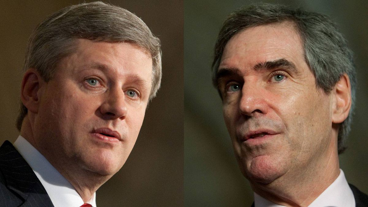Prime Minister Stephen Harper and Liberal Leader Michael Ignatieff are shown in a combo photo from June 17, 2009.