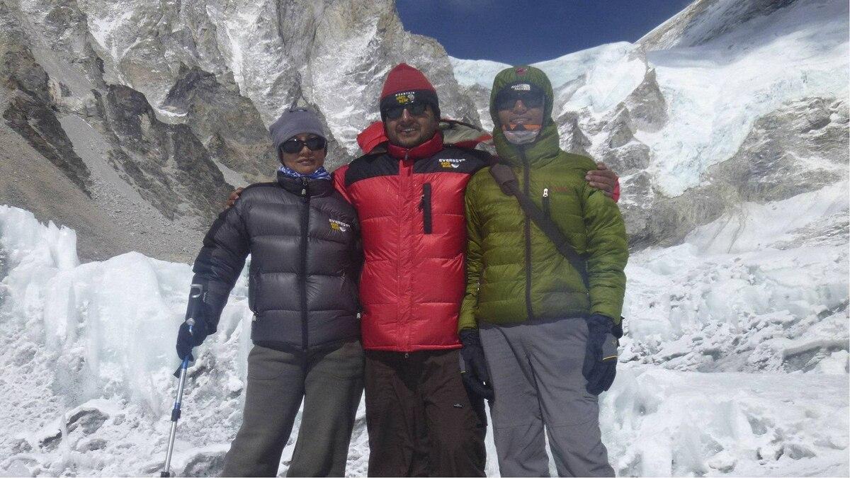 Shriya Shah-Klorfine, expedition manager Rishi Kandel and Ganesh Thakuri, managing director of Utmost Adventure Trekking Pvt. Ltd., on the way to Camp 1.