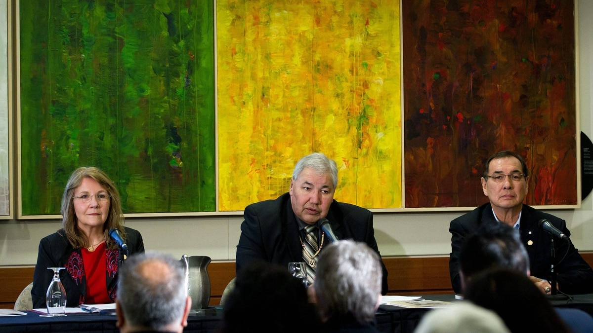 From left: Commissioners Marie Wilson, Justice Murray Sinclair and Chief Wilton Littlechild of the Truth and Reconciliation Commission release their interim report during a news conference in Vancouver on Feb. 24, 2012.