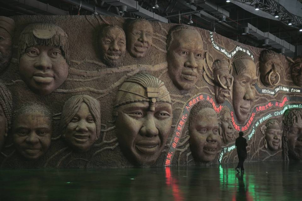 A man walks inside the African Pavilion at Shanghai Expo 2010 on April 28, 2010.